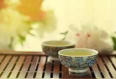 Traditional chinese tea ceremony Cun Fu Cha. With green tea.copy space royalty free stock photos
