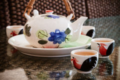 Traditional chinese tea cups and tea pot Royalty Free Stock Images