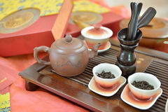 Traditional chinese tea pot and tea pair Stock Images