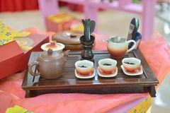 Traditional chinese tea pot and tea pair Royalty Free Stock Image