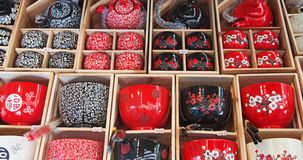 Traditional chinese tea pots and caps Royalty Free Stock Photos