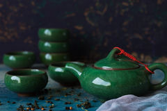 Traditional Chinese teapot and cups Stock Photography
