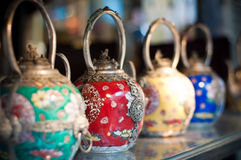 Traditional Chinese Teapots. Displayed on a shelf in a shop in Hong Kong Royalty Free Stock Image