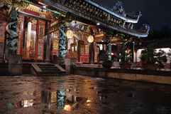 Traditional Chinese Temple. Night of traditional chinese temple in the rain Royalty Free Stock Photo