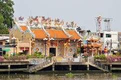 Traditional Chinese temple on embankment of Chao Phraya river Stock Image