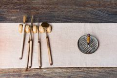 Traditional chinese tools to prepare tea on a wooden table Royalty Free Stock Images