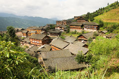Traditional chinese village wooden houses Royalty Free Stock Photos