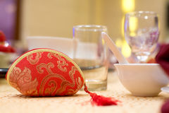 traditional Chinese wedding - red bag Royalty Free Stock Photo
