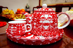 Traditional Chinese wedding tea pot and set Royalty Free Stock Images