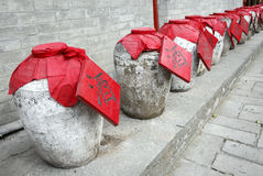 Traditional Chinese wine jar stock image