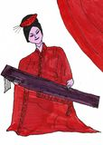 Traditional Chinese Woman with Plucked Instrument Guzheng. This is a hand drawn ink drawing. I used black, red and purple ink. The drawing shows a traditional Stock Photography