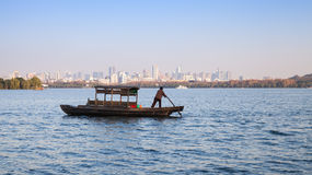 Traditional Chinese wooden recreation boat Stock Images