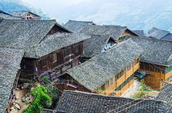 Traditional chinese Zhuang Long Ji minority village wooden houses royalty free stock images