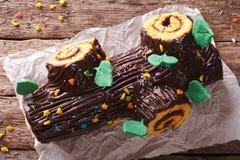 Free Traditional Chocolate Christmas Log Roll Close-up. Horizontal To Stock Photography - 76467502