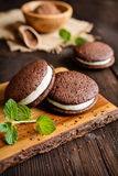 Traditional chocolate Whoopie pies filled with cream Stock Photography