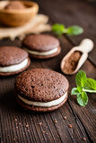 Traditional chocolate Whoopie pies filled with cream Stock Images