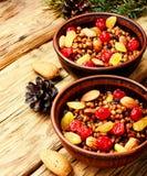 Traditional christian Christmas dish, kutya. National Russian Christmas dish, a porridge with raisins and almonds, kutya Stock Photos