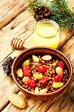 Traditional christian Christmas dish, kutya. National Russian Christmas dish, a porridge with raisins and almonds, kutya Stock Photo