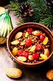 Traditional christian Christmas dish, kutya. National Russian Christmas dish, a porridge with raisins and almonds, kutya Royalty Free Stock Images