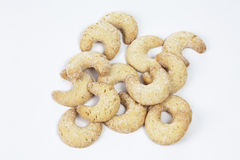 Traditional christmas almond cookies on white background Stock Photos
