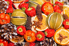 Traditional Christmas aromatic dry fruits Royalty Free Stock Images