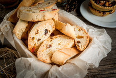 Traditional Christmas baking biscotti or cantucci Stock Photography