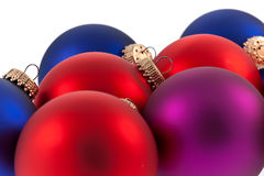 Traditional Christmas Balls on white background Stock Photos