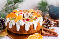 Traditional Christmas bundt cake Royalty Free Stock Image