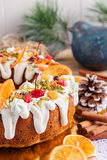 Traditional Christmas bundt cake Royalty Free Stock Images