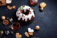 Traditional christmas cake with dried fruits soaked in rum and sugar glaze Stock Photography