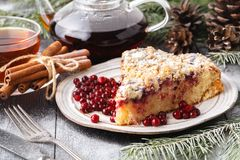Traditional Christmas cake shtollen on a wood background royalty free stock images