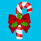 Traditional Christmas candy on a blue background vector illustration