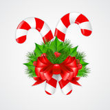Traditional christmas candy cane with decor. Vector illustration Royalty Free Stock Image