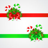 Traditional christmas candy cane with decor. Vector illustration Royalty Free Stock Photography