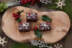 Christmas Chocolate Candy and Red Berries royalty free stock photography