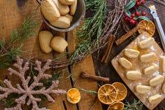 Cozy Christmas flat Lay baking Christmas Cookies royalty free stock photo