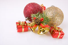 Traditional Christmas decoration. Christmas decoration, balls,bells and small gifts Royalty Free Stock Photos