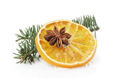 Traditional christmas decorations dried orange anise star Royalty Free Stock Image