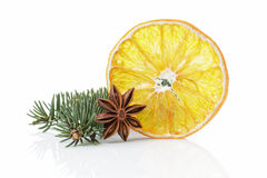 Traditional christmas decorations dried orange anise star Stock Photo