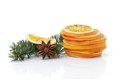 Traditional christmas decorations dried orange anise star Stock Photos