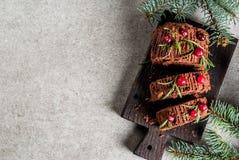 Christmas yule log cake Stock Photos