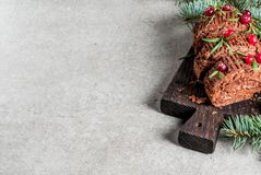 Christmas yule log cake Royalty Free Stock Photography