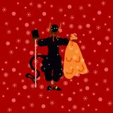 Traditional Christmas devil figure on red background with shining snowflakes. Traditional Christmas devil figure with book of bad deads on red background with Royalty Free Stock Photography