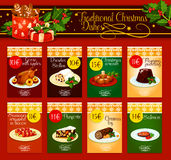 Traditional Christmas dishes for menu design. Christmas dinner menu template with meat, fish and pastry dishes. Christmas turkey and chocolate cake, flaming Stock Photos