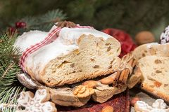 Traditional Christmas dresden cake stollen with candied fruits a Stock Photography