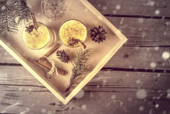 Traditional Christmas drink eggnog and cookies Stock Images