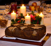Traditional Christmas Eve dinner table. Traditional Christmas eve food table in eastern Europe, Lithuania royalty free stock photo