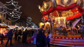 Traditional Christmas Fair Crowded in Brussels stock video
