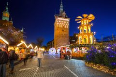 Traditional Christmas fair in the old town of Gdansk, Poland. GDANSK, POLAND - DECEMBER 8, 2017: Traditional Christmas fair in the old town of Gdansk, Poland Stock Image