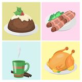 Traditional christmas food cards desserts holiday   Stock Images